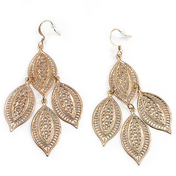 Gold Tone Filigree Leaf Drop Earrings 8cm Drop Ebay