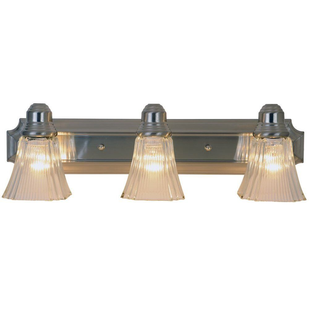monument lighting brushed nickel 3 light wall mount 24 bathroom vanity fixture ebay ForBrushed Nickel Bathroom Lighting Fixtures