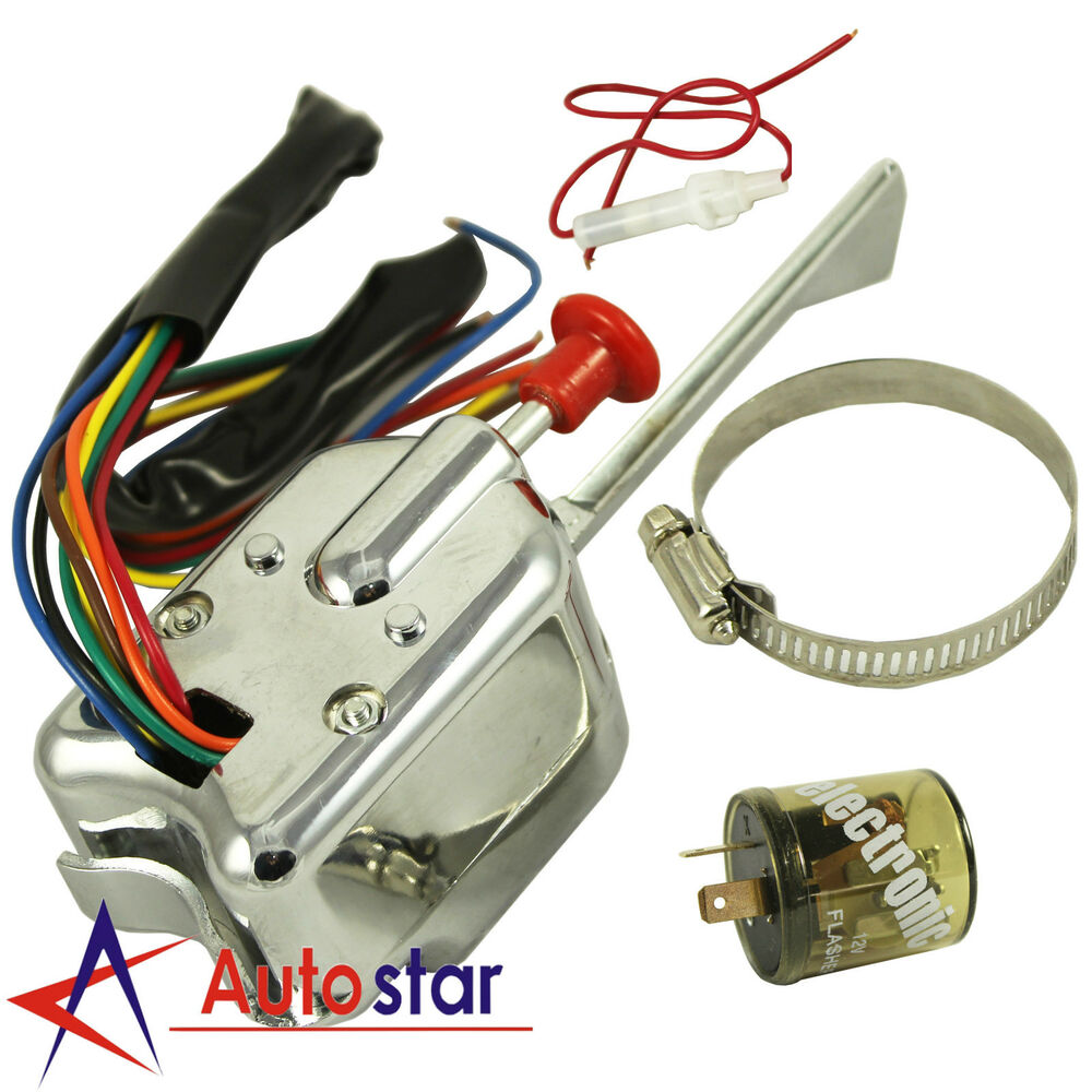 12V Universal Street Chrome Hot Rod Turn Signal Switch For Ford GM on chevy turn signal diagram, universal turn signal parts diagram, gm turn signal switch diagram, 3 wire led light wiring diagram, gmc 3500 truck wiring diagram, ford turn signal switch diagram, flhx turn signal wire diagram, truck-lite turn signal diagram, 2858 turn signal switch diagram,