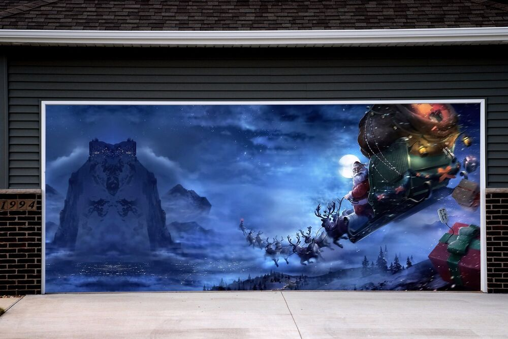 Christmas garage door covers 3d murals banners outside for Christmas garage door mural