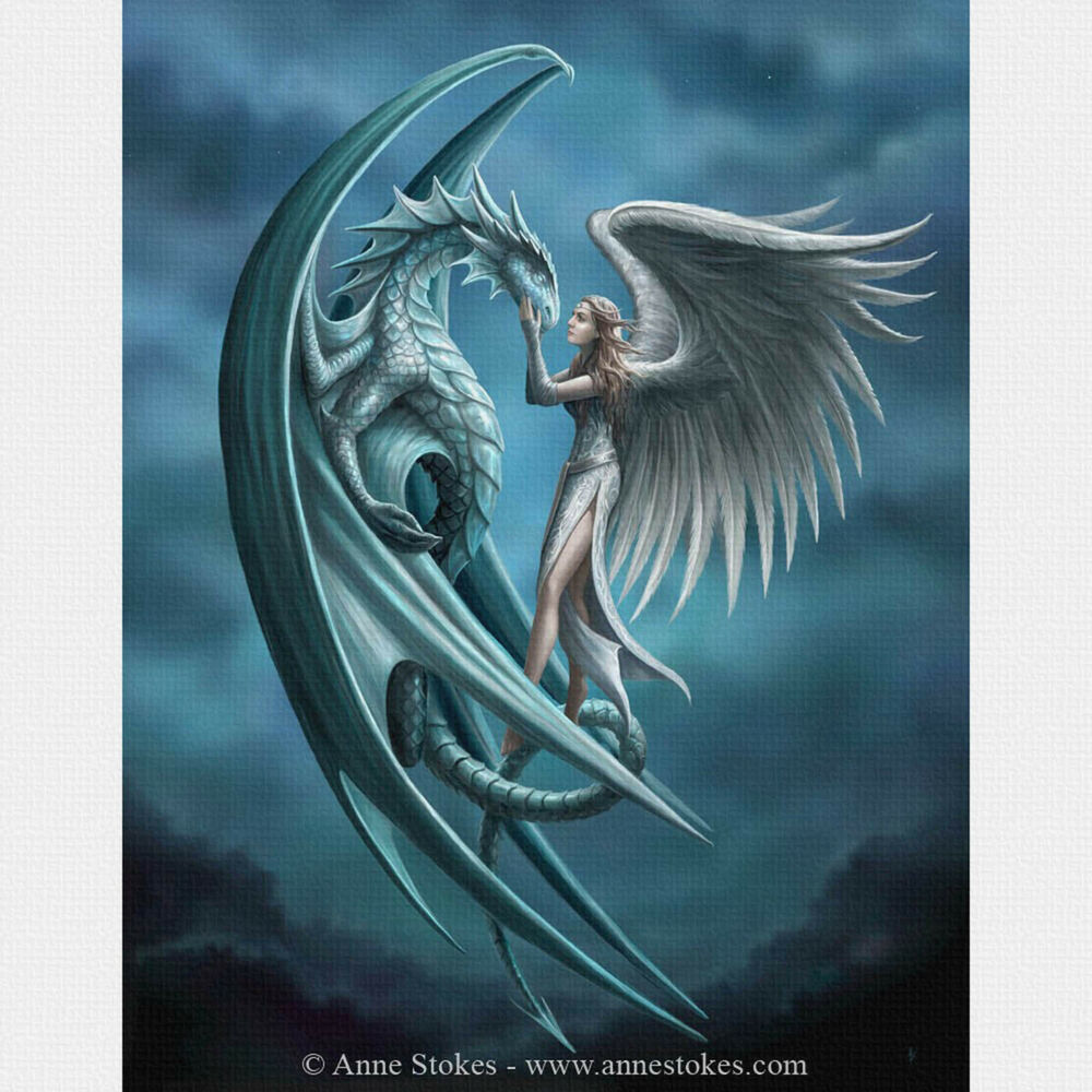 Angel Dragon: Silver Back Anne Stokes Wall Plaque Gothic Dragon Angel