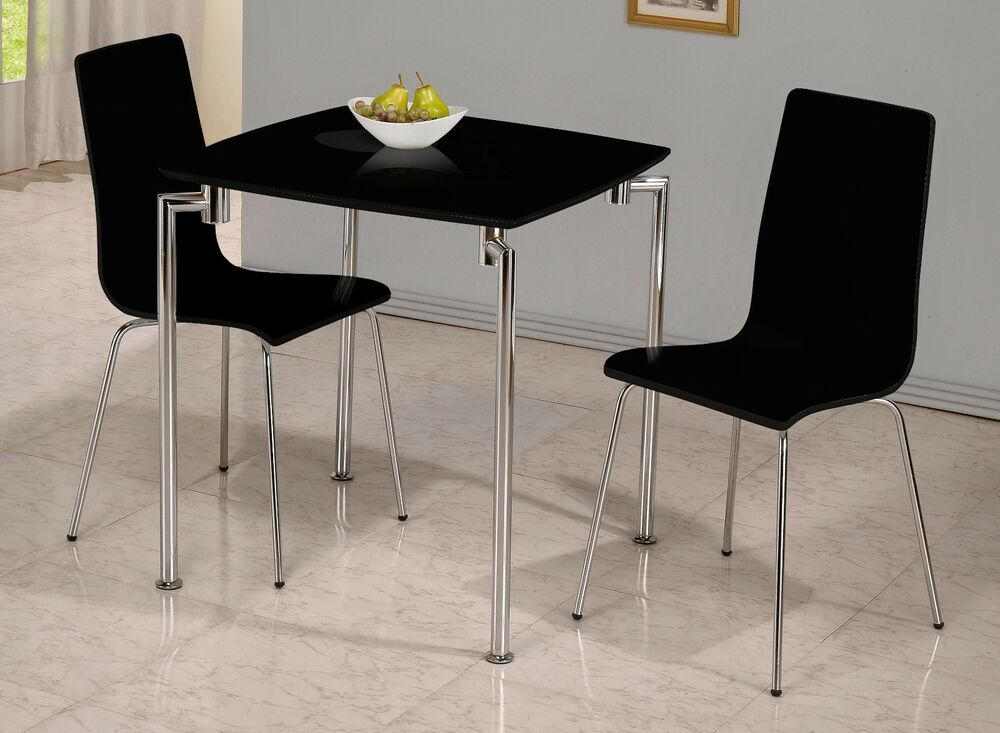 Fiji small dining set in black and chrome table and 2 for Small dining table and bench set