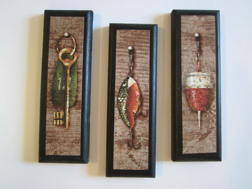 Fishing lures wall decor plaques small fish bait signs for Antique wall decor