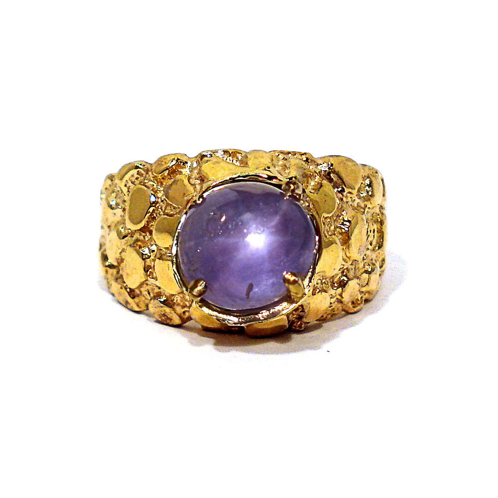 Solid 14k Yellow Gold Amp Natural Star Sapphire Men S Nugget