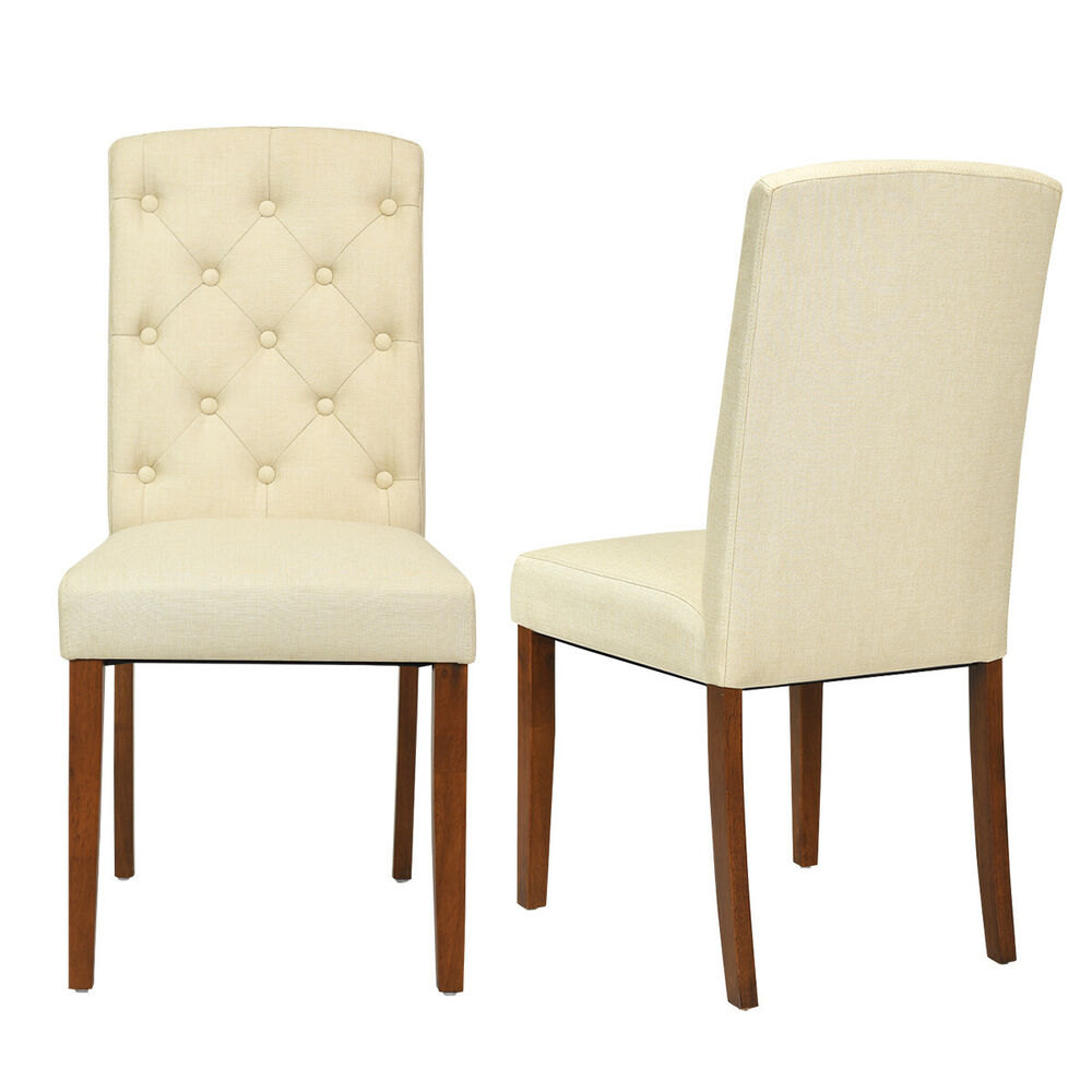 Accent Dining Room Chairs: Set Of 2 Linen Fabric Wood Accent Dining Chair Tufted