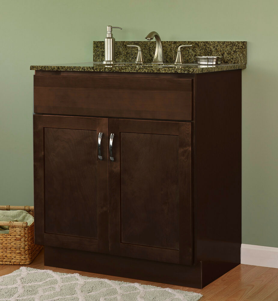 Jsi amesbury 24 inch 2 door solid maple frame espresso bathroom vanity cabinet ebay Solid wood bathroom vanities cabinets