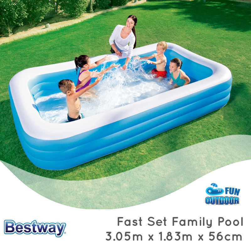 bestway fast set x x 56 inflatable rectangular family swimming pool ebay. Black Bedroom Furniture Sets. Home Design Ideas