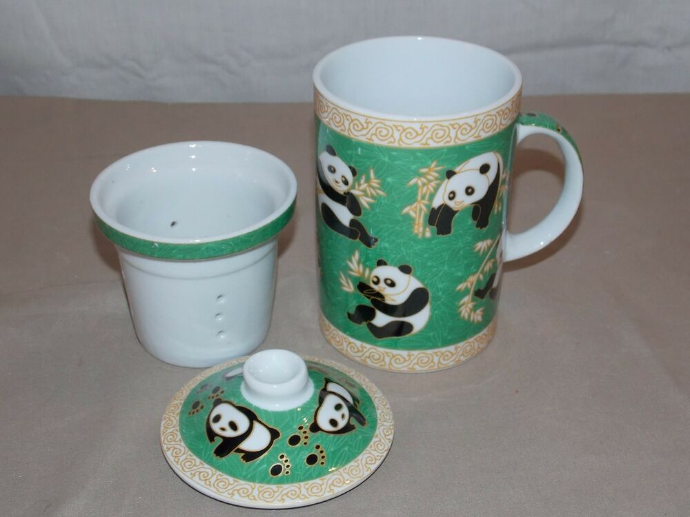 new 3pc oriental chinese panda porcelain coffee tea mug cup infuser lid ebay. Black Bedroom Furniture Sets. Home Design Ideas