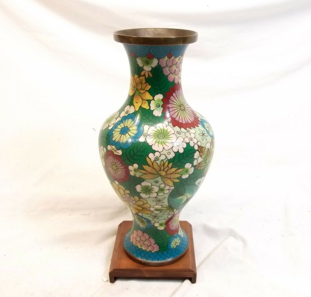 Vtg Chinese Cloisonne Vase Urn Enamel On Copper 9 Quot Flower Floral Wood Base Stand Ebay
