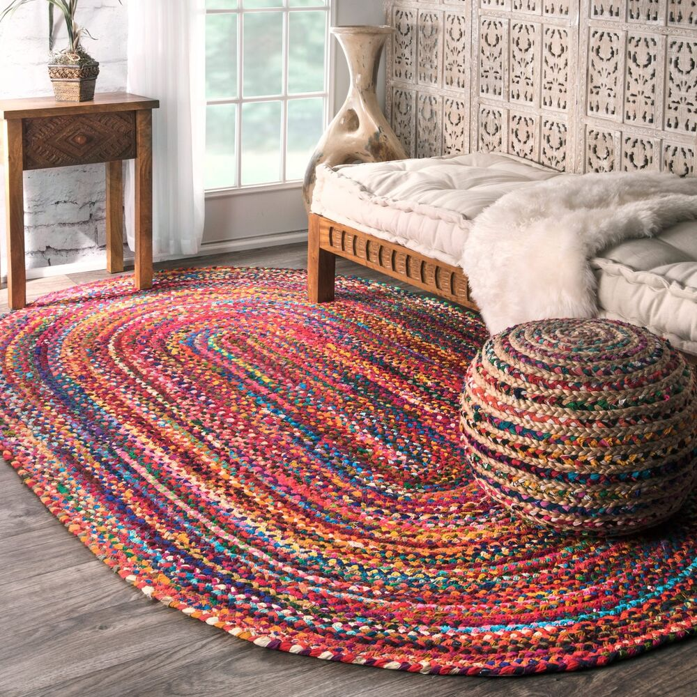 Nuloom Casual Handmade Braided Cotton Multi Rug 3 X 5