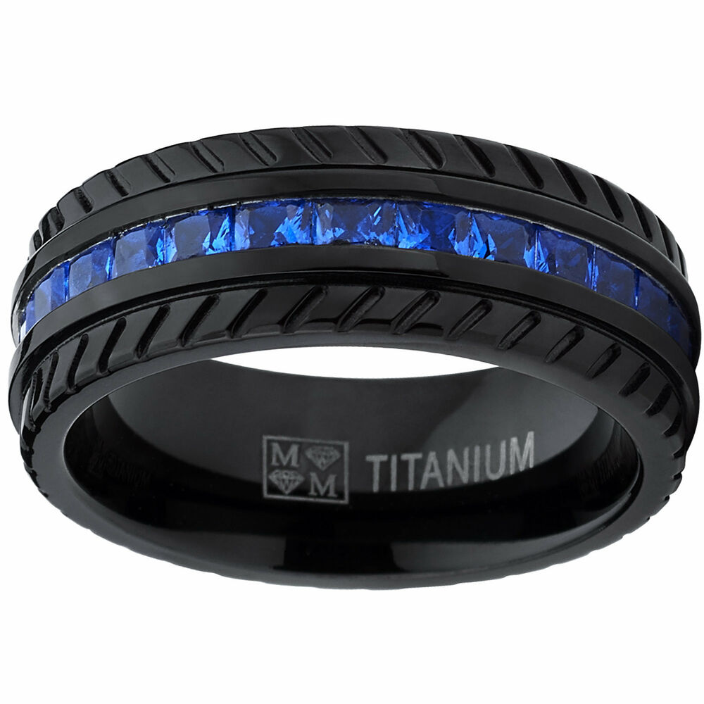 Men S Black Titanium Faux Sapphire And Zirconia Eternity