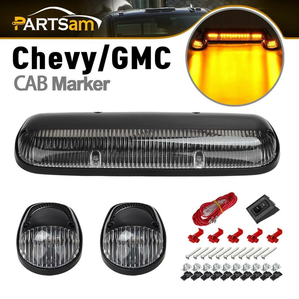 3pc clear cab roof running amber led lights for 02 07 chevy silverado gmc sierra ebay. Black Bedroom Furniture Sets. Home Design Ideas