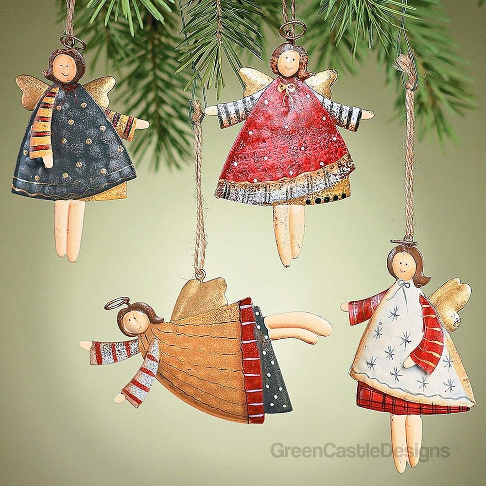 Angel Christmas Tree Ornaments 12 Metal Tin Holiday Rustic