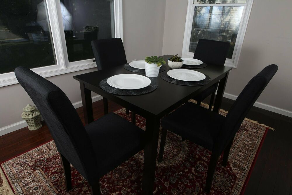 5pc Espresso Dining Room Kitchen Set Table 4 BLACK Fabric  : s l1000 from www.ebay.com size 1000 x 667 jpeg 81kB