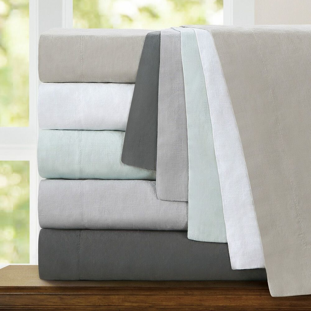 Echelon Home Washed Belgian Linen Duvet Cover Set Ebay