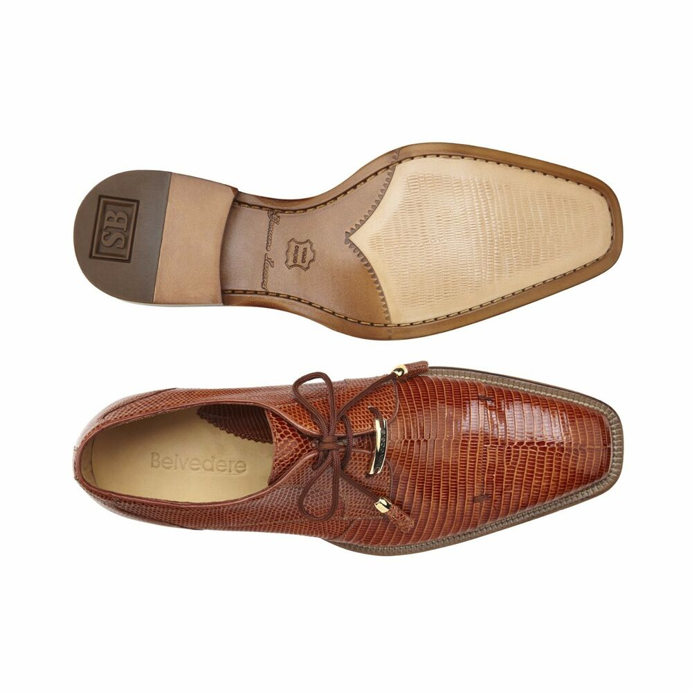 Belvedere Mens Shoes Karmelo Genuine Lizard Leather Lining Tan Lace Up 1497