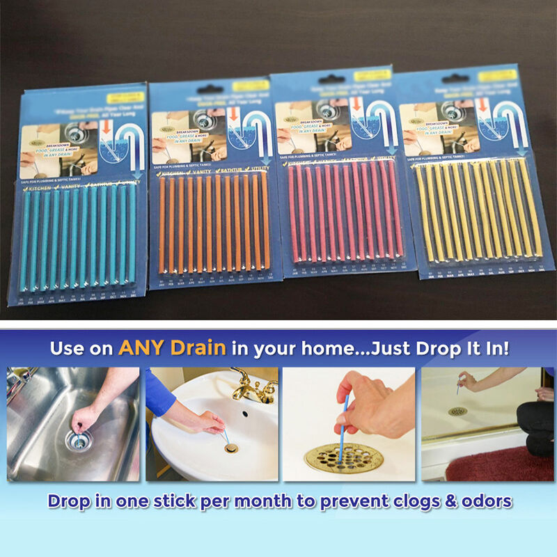 Diy Drain Cleaner Smell: 12 Pcs/pack Clean Sticks Drain Cleaner Odor Remover