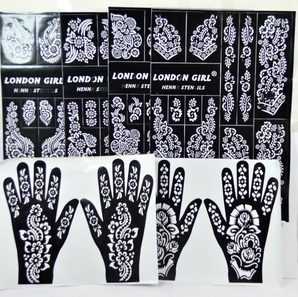 Henna Stencils: Henna/Mehndi Stencils Arabic/Indian Style Body Art, Pack