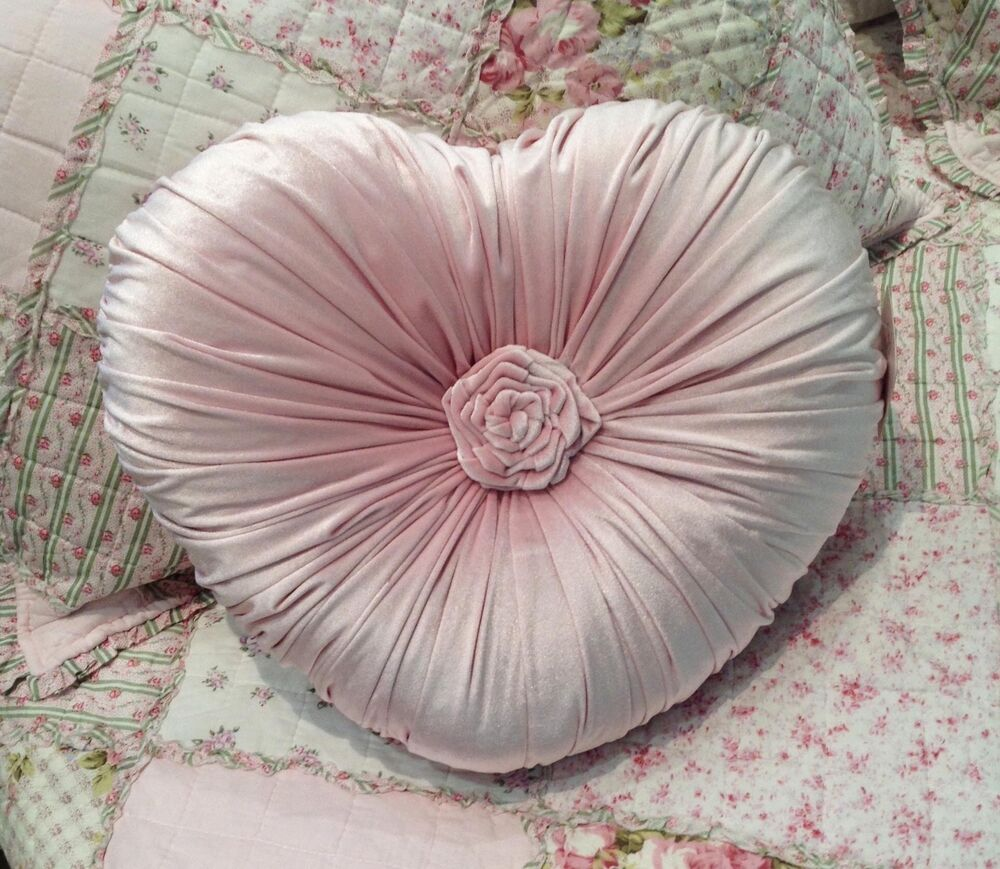 Shabby Chic Pink Decorative Pillows : Shabby Chic French Country Cushion / Throw Pillow Pink Heart Velvet eBay
