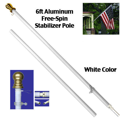 6 Ft White Tangle Free Spinning Aluminum Flagpole Flag