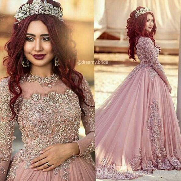 Wedding Formal Gowns: Long Sleeves Princess Muslim Pink Formal Evening Gowns