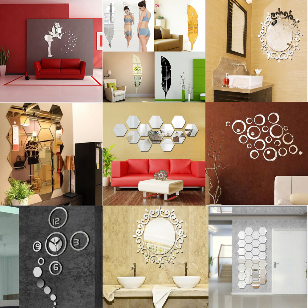 Removable 3d acrylic mirror diy home wall decal vinyl for Home decor 3d stickers