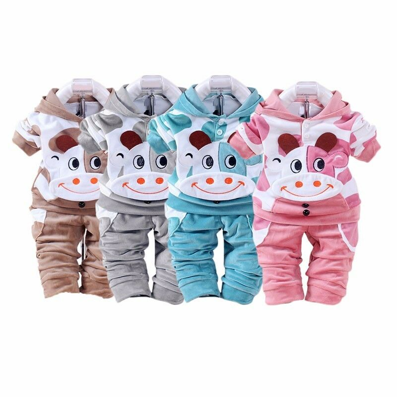 2Pc Baby Boys Clothes Warm Cow Outfit Kids Boys Sports ...