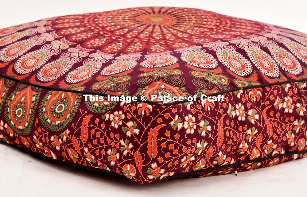 Indian Mandala Large Cushion Case Square Floor Pillow Pouf Ottoman Cover Hippie eBay