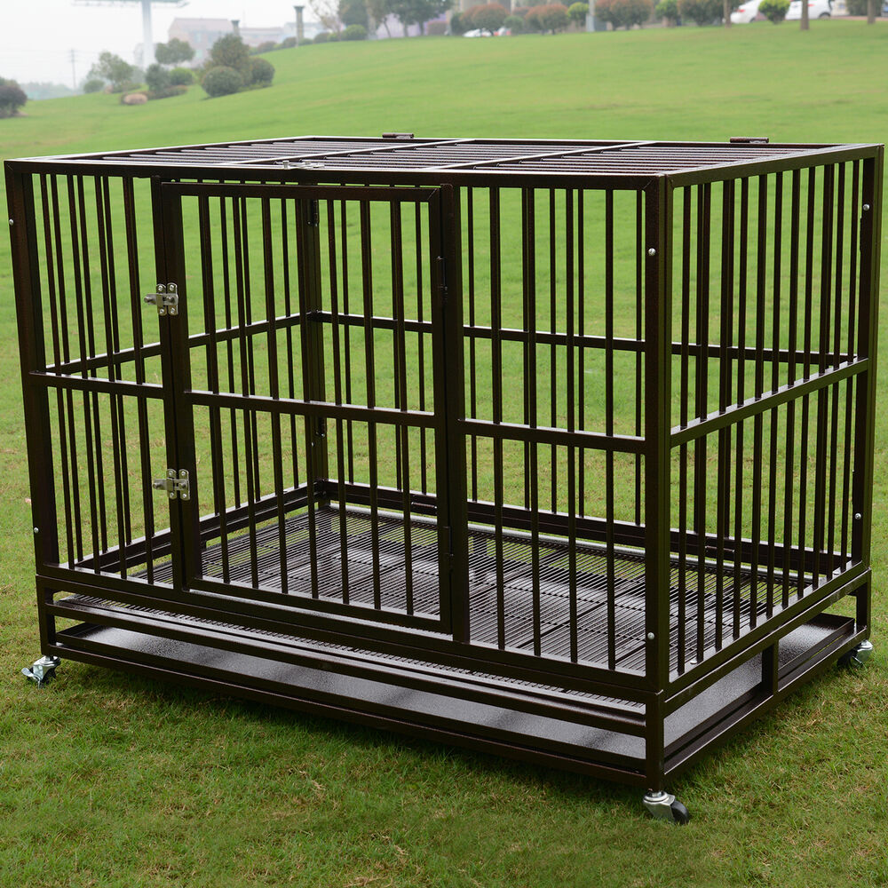 Dog Kennel Enclosures : Xl quot dog crate kennel heavy duty pet cage playpen w