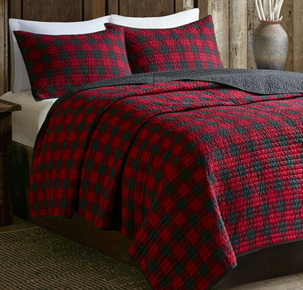 Cabin Buffalo Check Full Queen Quilt Set Country Western