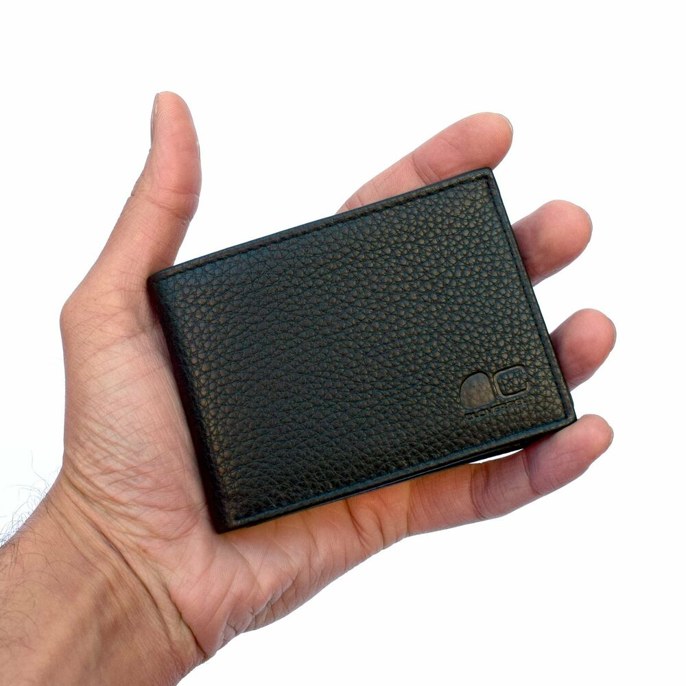 Mens small real leather wallet slim id window 2 card for 2 id window wallet