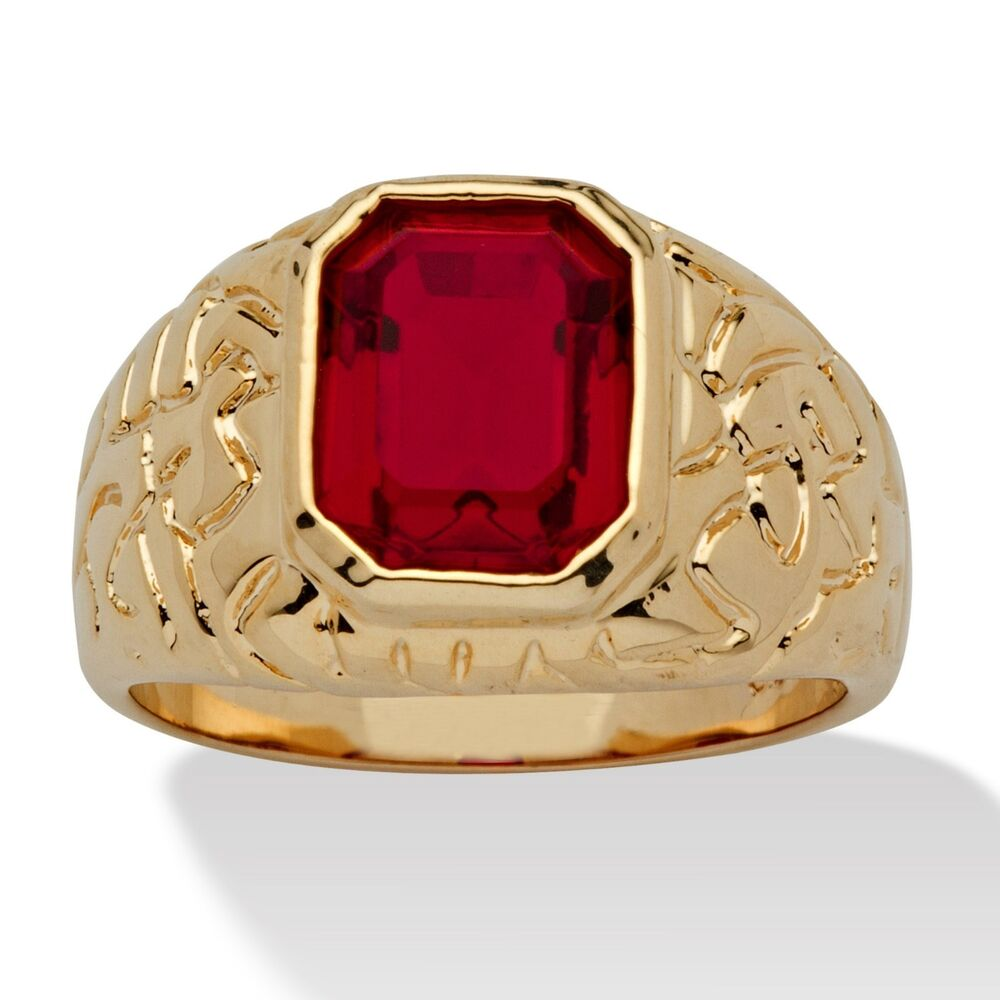 Red Ruby Mens 14k Gold Nugget Emerald Cut Gp Ring Size 8 9