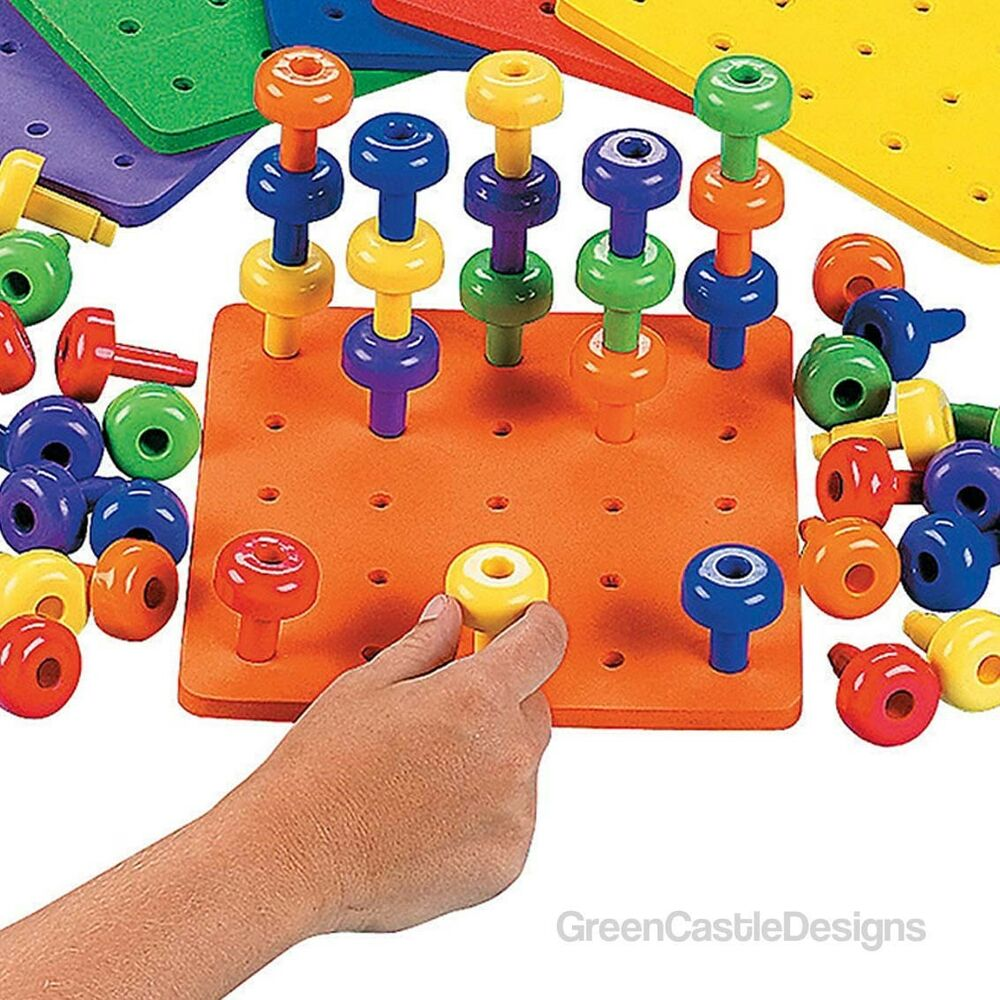 Stack It Peg Board Autism Game Fine Motor Skills Toys
