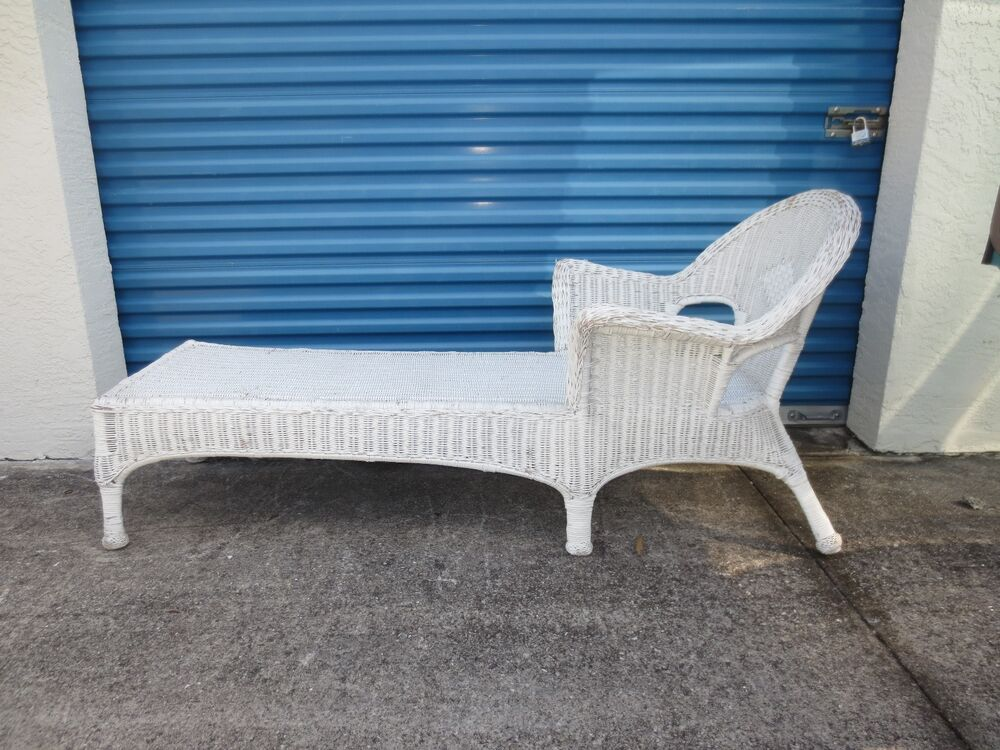 wicker chaise lounge long chair rattan shabby chic beach cottage victorian st ebay. Black Bedroom Furniture Sets. Home Design Ideas