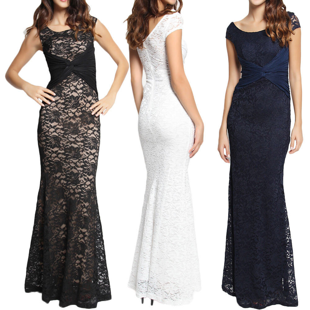 0a3edc1e94a Details about TheMogan Cap Sleeve Sash Lace Mermaid Evening Gown Maxi Dress  Wedding Party Prom