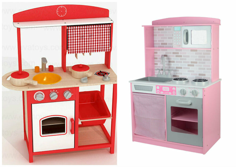 Details About Large S Kids Pink Red Wooden Play Kitchen Children Pretend Set Toy