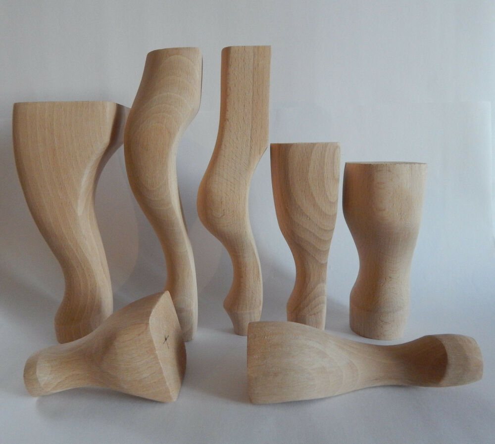 4x wooden furniture legs feet queen anne style beech for Wooden furniture
