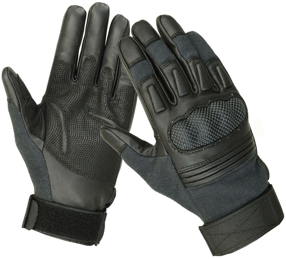 Leather work gloves ebay - Military Police Swat Tactical Combat Kevlar Cut Resistant Hard Knuckle Gloves