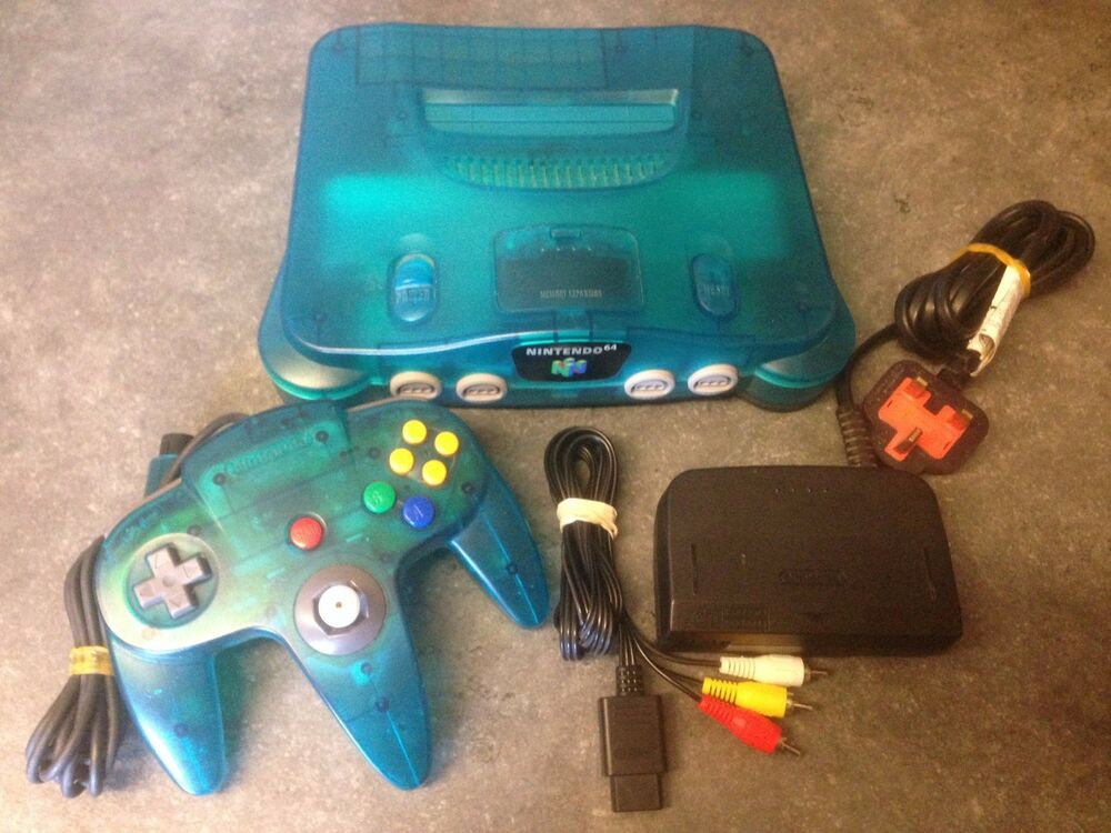 Rare ice blue nintendo 64 n64 games console complete set - How much is a super nintendo console worth ...