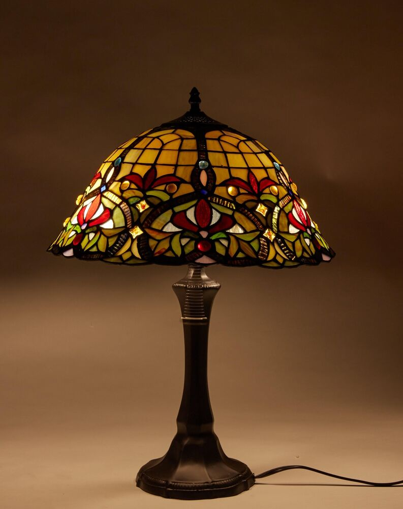 Tiffany Table Lamp Stained Glass Nightstand Light Tiffany