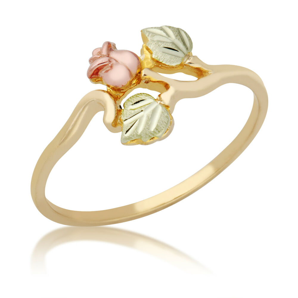 Flower And Leaves Rose Gold Ring