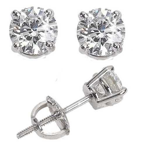 Mens Las White 10k Gold Over Silver Lab Diamond Earrings Back Studs Ebay