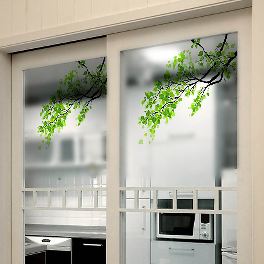 Removable green leaf branch window decal wall mural glass for Diy wall mural