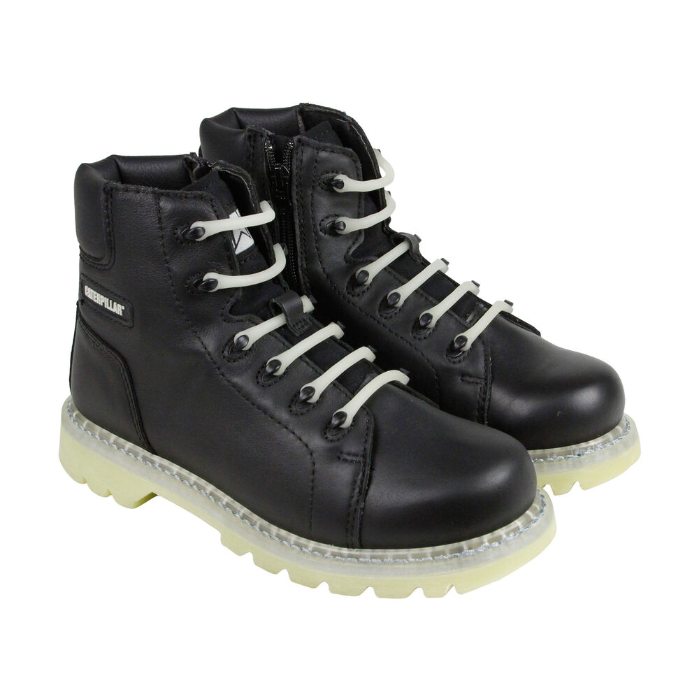cat glow mens black leather casual dress zip up boots