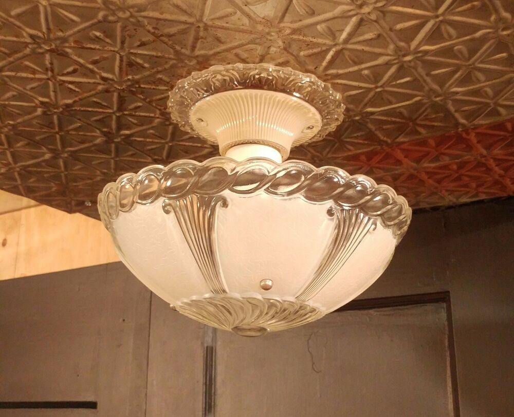Vintage 3 Chain Hanging Ceiling Light Fixture W Frosted