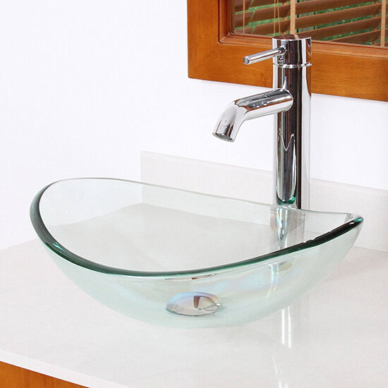 Bath Tempered Clear Glass Vanity Vessel Sink Oval Bowl Combo Chrome Faucet Drain Ebay
