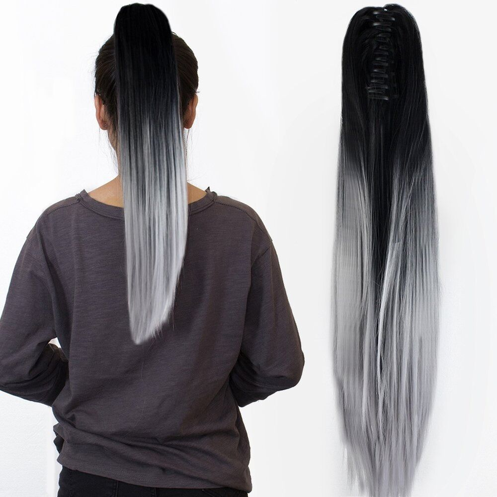 22 claw on ombre two tone synthetic long straight ponytail hair extensions n ebay. Black Bedroom Furniture Sets. Home Design Ideas