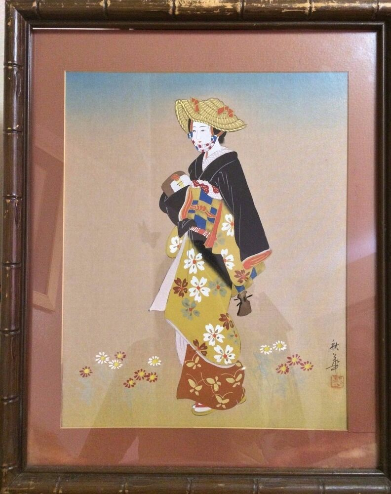 Antique 19c japanese watercolor painting on silk woman in for Japanese watercolor paintings