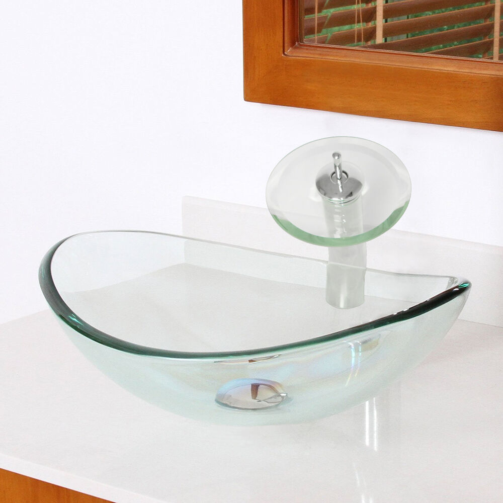 clear bathroom sink bath oval clear tempered glass vessel sink vanity bowl 12352