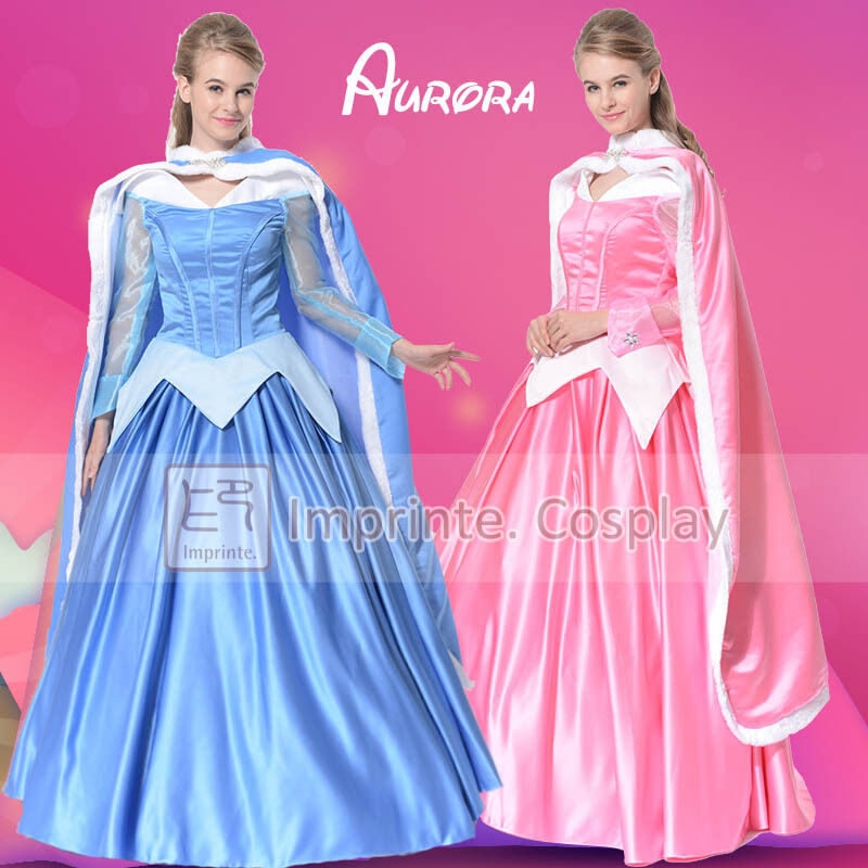 adulte aurore robe belle au bois dormant costume cosplay princesse robe de bal ebay. Black Bedroom Furniture Sets. Home Design Ideas